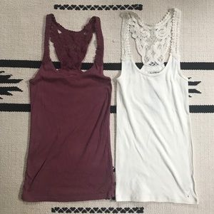(3/$20) Set of 2 AEO Crotched Ribbed Tank Tops